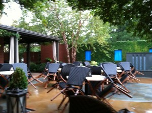 Thirty minutes before the Party begins at the patio of the Weathervane at Chapel Hill's famous Southern Seasons