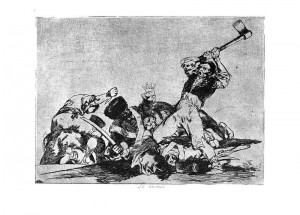 From Goya's Disasters of War, soldier cutting off head. Other Goya drawings show heads on spikes.