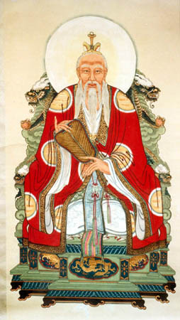 Clearly a fictitious image of Laozi. No one knows what he looked like. The story is Laozi appeared at a border crossing. The guard asked him to write a book of wisdom. Laozi wrote The Way, gave it to the guard who allowed him to cross. Laozi disappeared. This story and The Way are the only evidence of his existence.