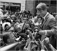 This shows the intensity of Robert Kennedy's campaign for President. The nation has never experienced a more emotionally intense campaign. A second Kennedy, who had won the California primary just that very day, was killed in the hotel kitchen before the Victory speech. From Indionapolis, Robert Kennedy flew to Memphis, carried Martin Luther King's body onto his plane and returned the dead leader home for burial.