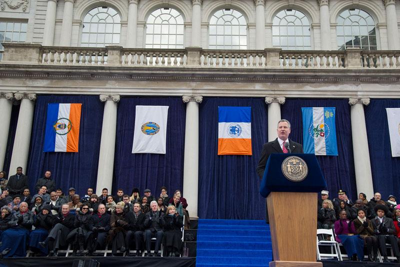 Mayor Bill de Blazio delivers his inaugural address
