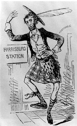 Because of an assassination plot in 1861, Lincoln entered DC in costume. The cartoonists had a field day.