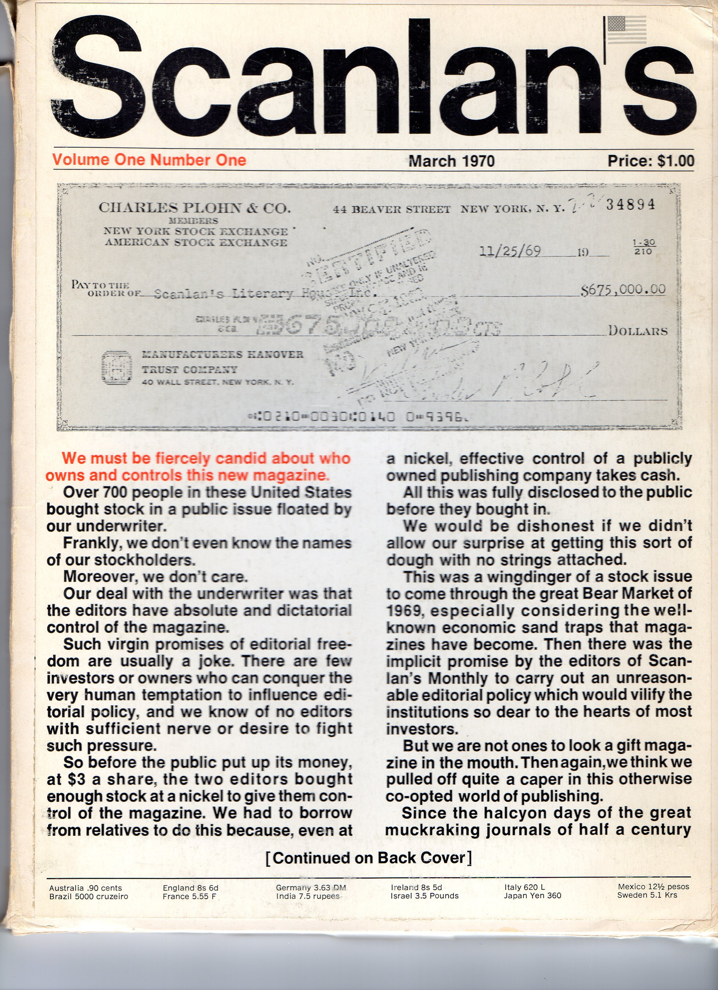 The first issue of Scanlan's Monthly, March 1970