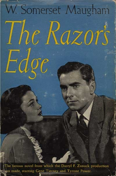 Book jacket of The Razor's Edge featuring the two main characters in the forthcoming movie