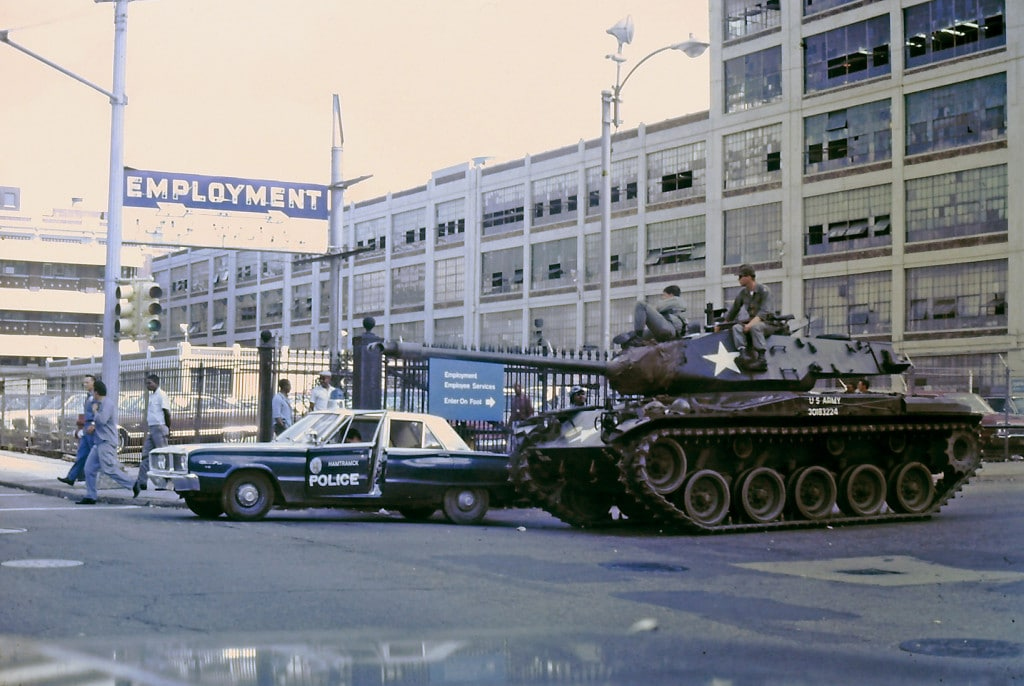 Tanks in the streets of Detroit after the President of the United States sends over 5,000 federal troups to Detroit to stop the riot. Photo courtesy Shorpy Historic Picture Archive