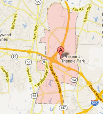 Map of Research Triangle Park where Diana mailed the save the date card. Guests eager for a sentimental journey might begin at the country post office; then take Route 54 west, past eagle observatory where the wedding party will make a side trip to Chapel Hill NC and wedded bliss.