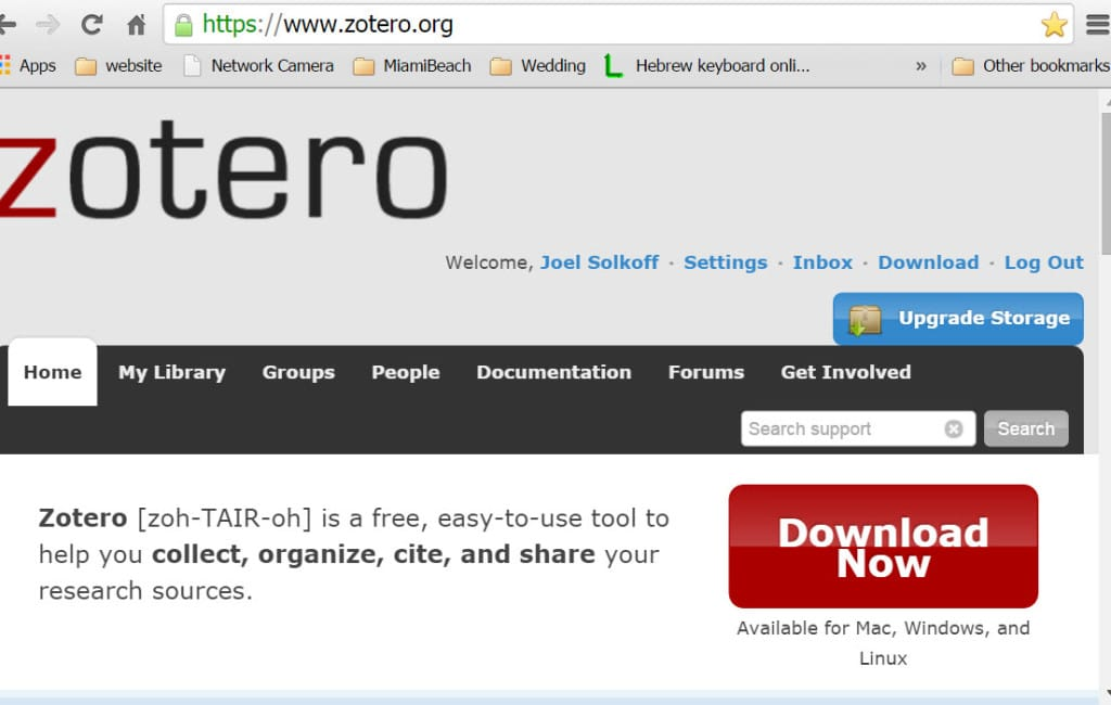 This screen shot shows I had already established a Zotero account. I originally established this account in a bye-gone era when one could obtain Zotero as an add-on to Firefox. Before downloading standalone from Chrome, I had logged into Zotero's home page. If you do not have a Zotero account you can establish one and log in either before or after the download.