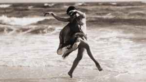 Isadora Duncan, co-founder of the modern dance movement, demonstrates her belief that human beings should move freely and without restriction (such as ballet slippers).