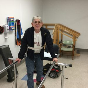 Walking (even with a harness) on the parallel bars after 21 years as a paraplegic. Invigorating.