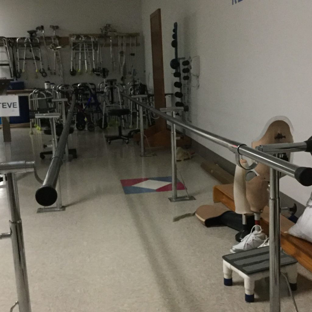 "On the second day of my stay, I published the following on Facebook: ""These are the parallel bars in the East Wing Therapy Gym. I photographed the bars early this Tuesday morning hoping the picture would provide the sense of excitement these bars evoke. Yesterday, attached to a harness, I ""walked"" upright. The pain I feel this morning evokes hope. I am here at HealthSouth to manage the crippling pain in my spine. The pain in my muscles is a different kind of pain. A good pain when transformed into strength will help me defeat the bad pain. It is too early to discuss good and evil--not before breakfast. Suffice it to say, I look forward to this day because I will be walking upright again."""