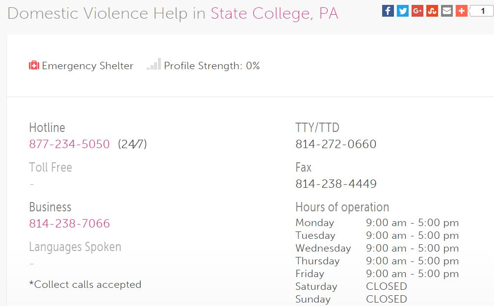 State College Spousal Abuse Contact Information