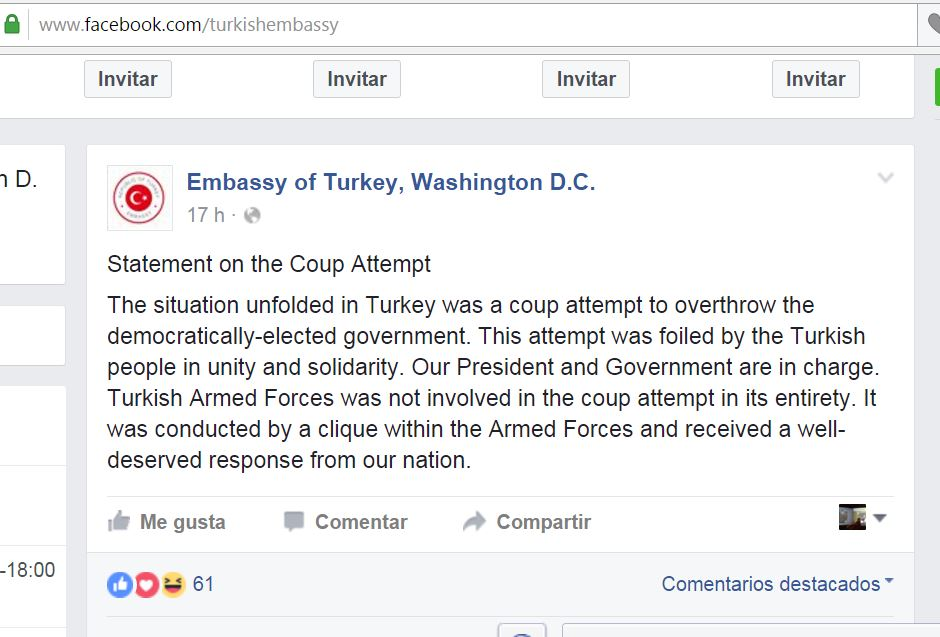 Turkey's Ambassador to the U.S. reports on Facebook