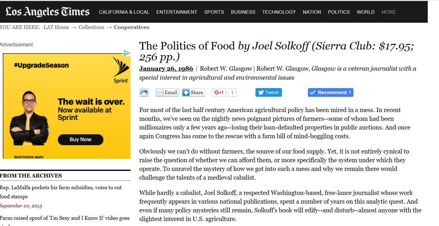 """While hardly a cabalist, Joel Solkoff, a respected Washington-based, free-lance journalist whose work frequently appears in various national publications, spent a number of years on this analytic quest. And even if many policy mysteries still remain, Solkoff's book will edify--and disturb--almost anyone with the slightest interest in U.S. agriculture."""