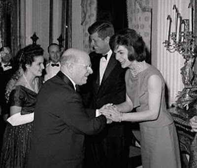 Pablo Casals (with President John F. Kennedy, center, First Lady Jacqueline Kennedy right) in 1962 was at 85 one of the world's greatest living musicians — and a Spanish exile who had long refused to play publicly in countries that recognized Spain's authoritarian government. He accepted Kennedy's White House invitation after much soul-searching, as a signal of his hopes for the new president's administration.